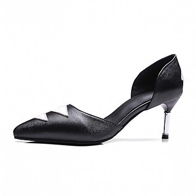 Zormey Frauen Heels Frühling Herbst Komfort Kunstleder Party & Amp; Abendkleid Casual Stiletto Heel Schwarz US4 / EU36 / UK3 Big Kids