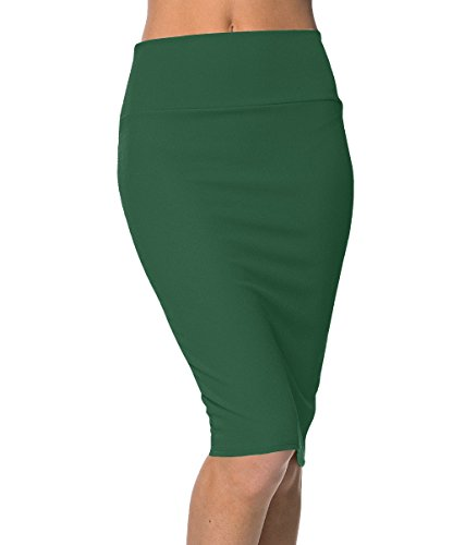 Urban GoCo Donna Vita Alta Bodycon Gonna Aderente Cintola Elastica Midi Gonna Ufficio Longuette Gonna Verde scuro S