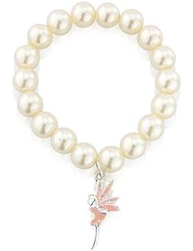 Kinder Perlenarmband mit pink glitzerndem Feen Ahnhänger