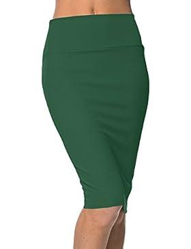 [Patrocinado]Urban GoCo Falda de Lápiz Corta Estirada de Cintura Alta Bodycon Tubo Falda Oficina Por La Rodilla