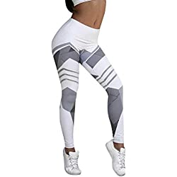 Femmes Sport Gym Yoga Workout Taille Moyenne Pantalon Coureur Fitness Leggings élastiques Slim Jeans Combinaisons Short Collants Knickerbockers (XL,Blanc)