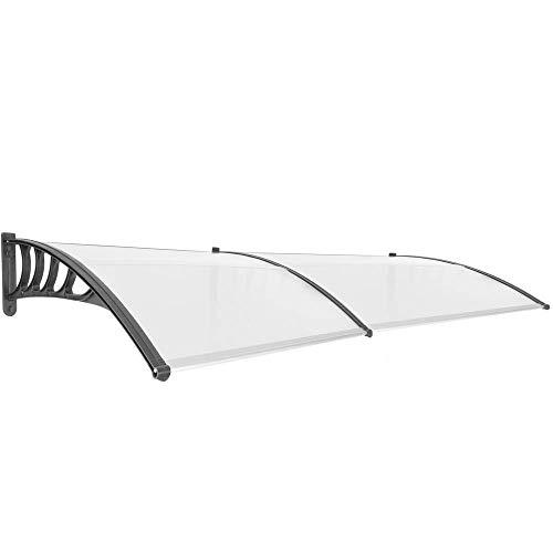 PrimeMatik - Tejadillo de protección Marquesina para Puertas y Ventanas Negro 240x90cm