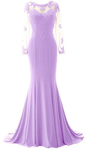 MACloth Elegant Mermaid Long Sleeve Prom Dress Jersey Wedding Party Formal Gown Lavande