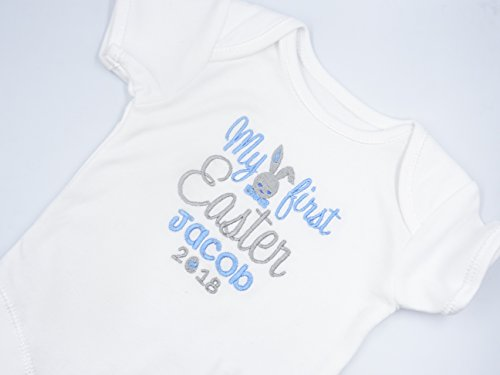 Personalised Embroidered Baby Boys Short Sleeved Bodysuit/Vest - MY FIRST EASTER with BUNNY IN BOW TIE - Boys Novelty Unique Gift & Keepsake **Add any Name**
