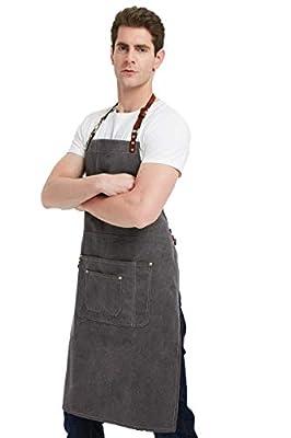 CPTDCL Denim-/Leinen-Sch¨¹rze f¨¹r Damen und Herren, mit Lederband, f¨¹r K?Che, K¨¹Che, BBQ, tolle Sch¨¹rze mit Taschen f¨¹r Werkzeuge
