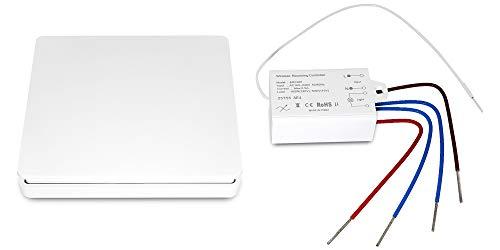 HENGSI Smart Wireless Dimmer-Lichtschalter-Kit, einfach zu montierender Schalter ohne Verkabelung, keine Akku und IP65 wasserdicht, stufenloses Dimmen für Glühlampen/Wolframlampen/TRIAC-Dimm-LED -