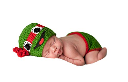 Neugeborenes Baby Mädchen häkeln Kostüm Outfits Fotografie Requisiten Teenage Mutant Ninja Turtles Hat+Hose 0-6 Monate