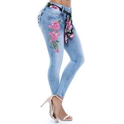 LUGOW Jeanshosen Damen Stickerei LeggingsEinfarbig Yoga Hosen Hohe Elastische Straight Barrel Tight Feet Jeans Freizeithose Elastisch Lange Hosen SommerhoseOnline Sale(Large,Blau)
