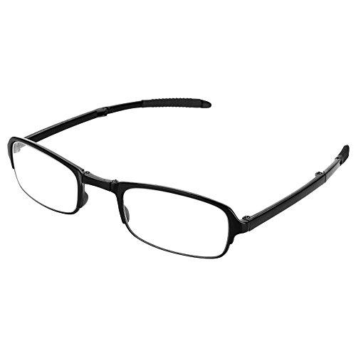 Lesebrillen faltbar, Tragbare Clip Nase Lesebrille Presbyopie Brille Folding Schlüsselanhänger Fall, Unisex tragbare leichte faltbare ultradünne schwarz lesen Presbyopie Brille(2.5)