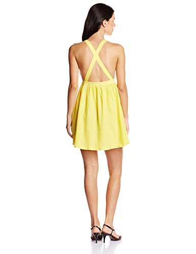 Global Desi Women's Cotton Body Con Dress (JY350068-DR-156_Yellow_Medium)