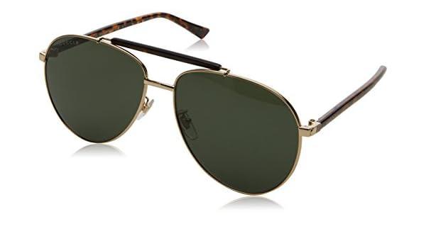 Gucci Herren Sonnenbrille GG0014S 006, Gold (Gold/Green), 60