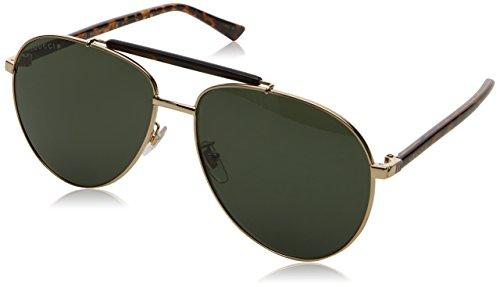 Gucci Herren GG0014S 006 Sonnenbrille, Gold/Green, 60