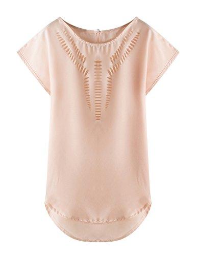Sommer Damen Oberteile Mode Reizvolle Rundkragen T-shirt Einfarbig Top Kurzärmlig Hemden Hohl Pulli Freizeit Blusen Nudefarben