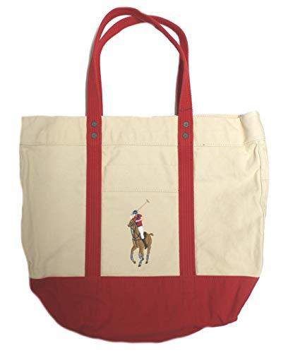 Polo_Ralph Lauren, Borsa tote donna, (Cream/Red), Taglia unica