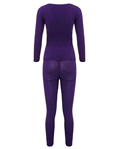 ZANZEA Femme L'équipage Chaud Col Rond Ensembles Pantalons Pyjamas Thermiques Vêtements Caleçon Longue Violet Foncé