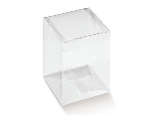 Fausto 10 STÜCK Gastgeschenk Kartonage AUTOMATICO Trasparente, transparent, 80 x 80 x 150, Geschenkschachtel Verpackung für Gastgeschenke Hochzeitsmandeln Pralinenschachtel