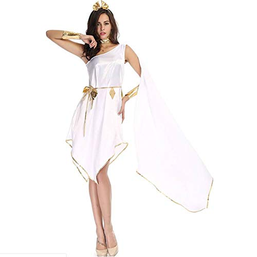 Kostüm Göttin Satin - ASDF Griechische Göttin Halloween weiße Göttin unregelmäßiges Kleid Uniform Set