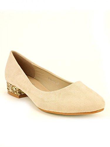 Cendriyon, Escarpin Beige LOKINA Paillettes Chaussures Femme Beige