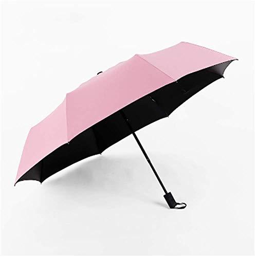 BBQBQ Sonnenschirm Farbe dreifach schwarzer Kunststoff Sonnenschutz Regenschirm mit doppeltem Verwendungszweck dreifach Regenschirm pink