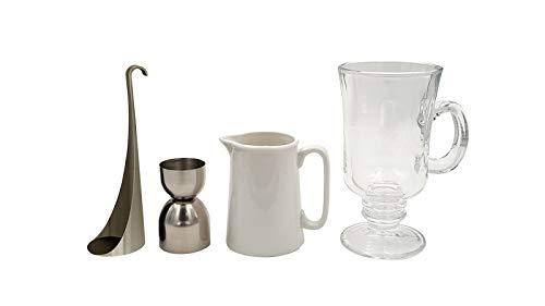 Cookut Irish Coffee Maker Set - 5-teliges Komplett-Set inkl. 2 Gläser, Schichtwerkzeug, Messbecher, Kaffeekanne - Professionelle Irish Coffee Zubereitung für zu Hause