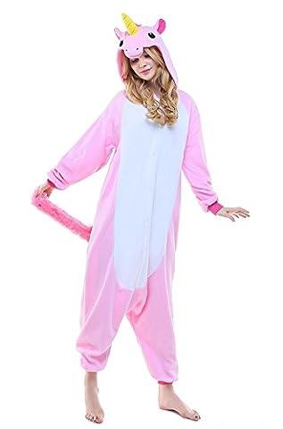 Kigurumi Einhorn - Pyjamas Schlafanzug Kostüm Erwachsene Anime Unisex Kostüme Jumpsuit Karneval Cosplay (Rosa Einhorn-kostüm)