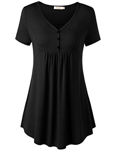 WAJAT Damen Henleyshirt LongTee V-Ausschinitt Tunika Vintage Basic Schwarz L