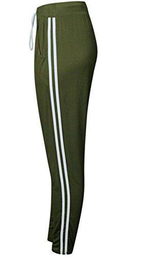 Ladies filles Sport Stripe Piping Pocket Drawstring Jogger EUR 36-42 Kaki