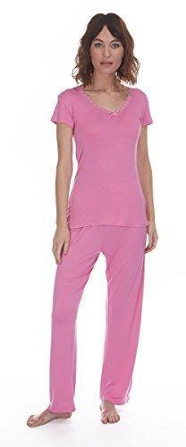 Femmes Manche Courte Viscose col V Set Pyjama Rose