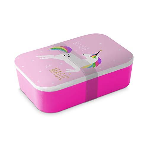 Home Collection Bambus Brotdose Lunchbox Butterbrotdose Einhorn Pink Unicorn 19,8 x 12,8cm H6,5cm...
