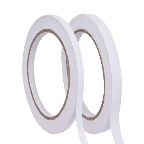 YoungRich 2 Rollen Doppelseitiges Klebeband Besonders Starker Klebekraft Doppelseitig Rollenband Strong Paketband für Home Office DIY 6mm x 25 m und 9mm x 25m Weiß