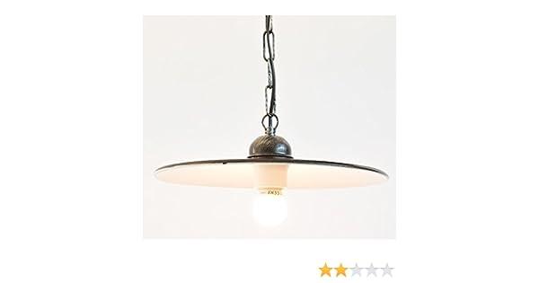 Plafoniere Industriali Diametro 30 : Lampada a sospensione in ferro battuto con piatto smaltato catena