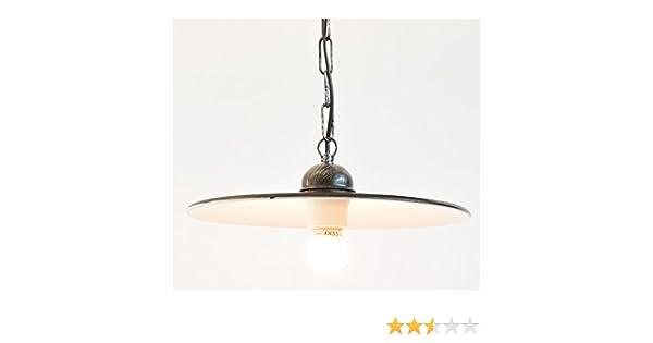 Lampada da parete esterno in ferro battuto con piatto smaltato lunghezza 35 cm
