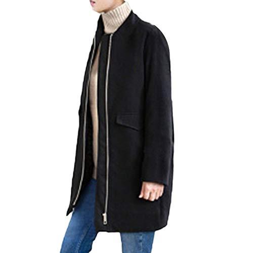 TianWlio Jacken Parka Mäntel Herbst Winter Warme Jacken Strickjacken Damen Mäntel Winter Revers Wolle Mantel Reißverschluss Trench Jackent Lose Plus Mantel Outwear XL