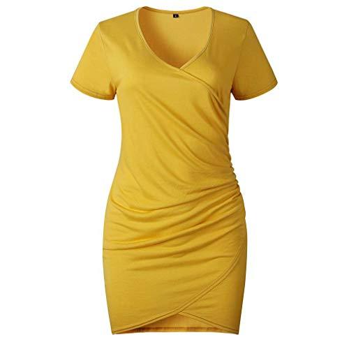 Timlatte Frauen-Sommer-Minikleid mit V-Ausschnitt Hip Wrapped Kurze Hülsen-Reine Farbe Irregular