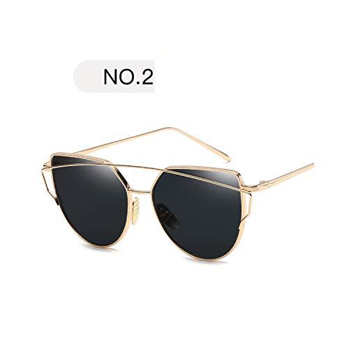 Golfbrille,NEW Metal Sunglasses Women Luxury Cat Eye Brand Design Mirror Rose New Gold Vintage Cateye Fashion Sun Glasses Lady Eyewear C2 ()
