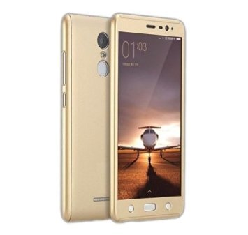 KOKI Compatible with iPaky 360 Degree Protection Front & Back Case Cover for Xiaomi Redmi Note 3 with Tempered Glass - Gold