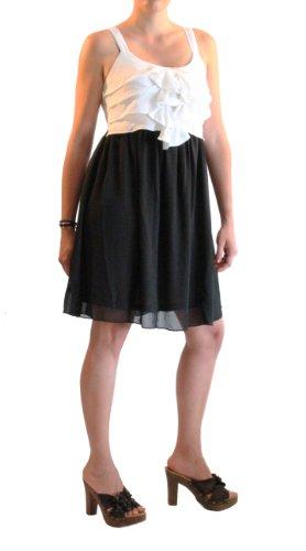 """Waooh - Fashion - Kurzes Kleid mit Rüschen """"Kalinka"""" Schwarz und Weiß"""