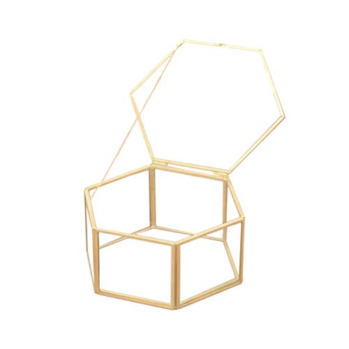 Amosfun Schmuck Aufbewahrungsbox Geometrische Ring Box Glas Geschenk Halter für Hochzeit Party Favor Dekorationen