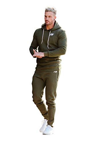 Aspire Wear Herren Khaki Grüner Trainingsanzug Hoodie Bottoms Set - Fitnessstudio Trainingsanzug Active Sport Stretch schlanke Passform Top Joggers (L)