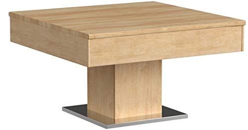Massivholz Couchtisch quadratisch aus Wildeiche, geölter Wohnzimmer-Tisch, Beistelltisch inkl. Schublade, Tisch 75 x 75 cm