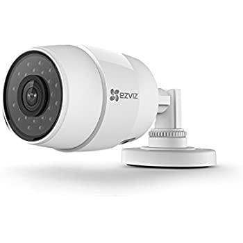 EZVIZ C3C, videocamera bullet 720p HD da esterni con Wi-Fi e visione notturna, resistente all'acqua, distanza focale 2.8 mm, bianca