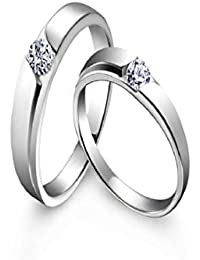 Silverish Forever Love Matching Ring For Him And Her Alloy Cubic Zirconia Rhodium Plated Ring Set - B07CKXM16X