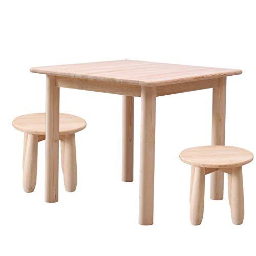 ZH Kinder-Tisch Und Stuhl/Hocker Aus Massivem Holz, Sitzgruppen, Robuste KindermöBel Aus Hartholz, Kinderzimmer Spielzimmer AktivitäTstabelle, Esstisch, Unvollendet, Holzfarbe -