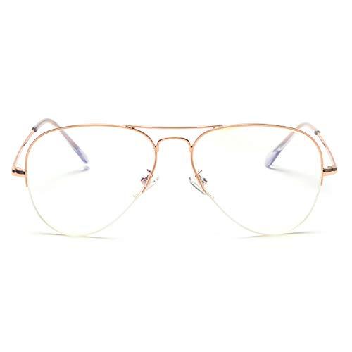 YMTP Männer Optische Gläser Rahmen Roségold 2019 Anti Blau Strahl Brille Computer Brille Rahmen Frauen Halbrand Metall, Rose Gold