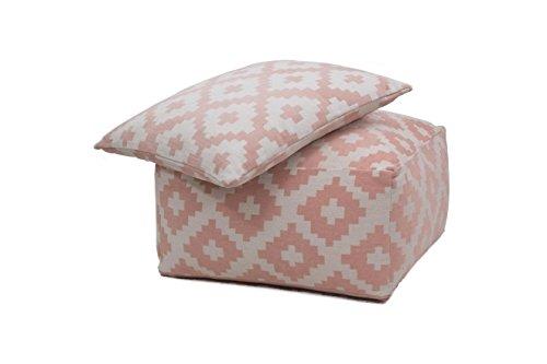 Hocker Sitz-Würfel & Kissen Geometrie Design Unwind Pouf & Cushion Set 260 Bean Bag Rauten Muster Baumwolle 80x80 cm Weiß/ Sitzsack günstig online kaufen