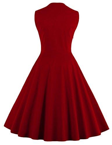 VKStar® Vintage 50er Jahre Rockabilly Kleid Ärmellos Retro Swing Elegantes Abendkleid mit Knöpfe Weinrot-Blume