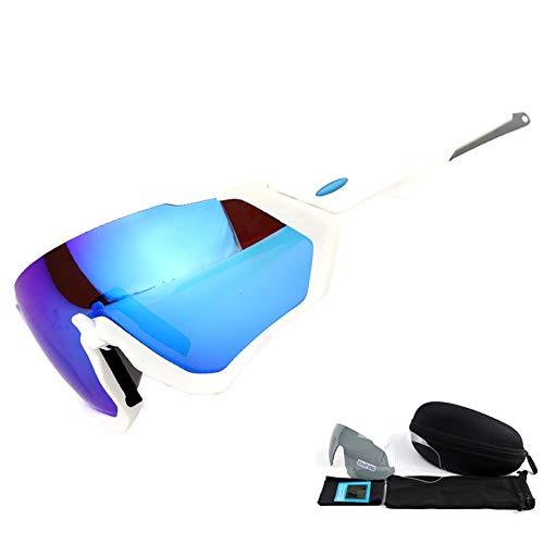 Weifan1 Reiten Polarisierte Sonnenbrille Mit 3 Linsen Ersatz Für Herren Und Damen Radfahren Und Laufen,whiteframebluepiece