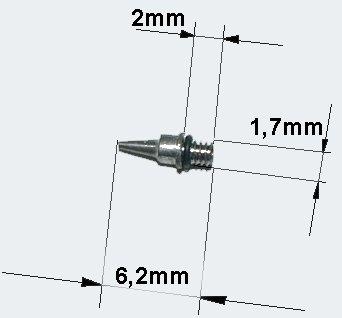 Ersatzteil Airbrushpistole 0,5 mm Düse Nadel und O-Ring von WilTec auf TapetenShop