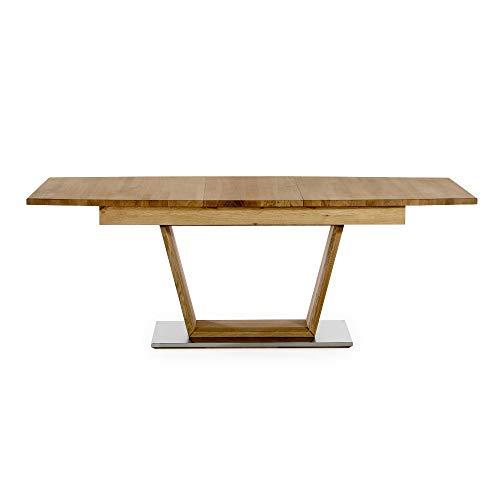 Alkove - Hayes – Moderner, ausziehbarer Massivholztisch, 205cm, Wildeiche