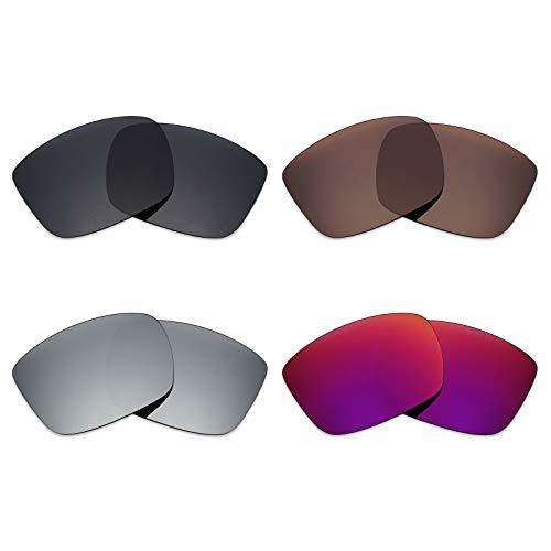 Mryok Polarisierte Ersatzgläser für Spy Optic Discord Sonnenbrille, Stealth Black/Bronze Brown/Silver Titanium/Midnight Sun, 4 Paar